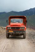 Chinese Truck Driving In Tibet