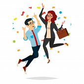 Business Couple Jumping Vector. Man And Woman. Objective Attainment, Achievement. Best Worker, Achie poster
