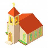 Church Tower Icon. Isometric Illustration Of Church Tower Vector Icon For Web poster
