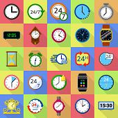 Time And Clock Icons Set. Flat Illustration Of 25 Time Clock Vector Icons For Web poster