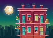 Vector Residential Multi-storey Apartment At Night, Neighborhood, House Outside With People Concept, poster