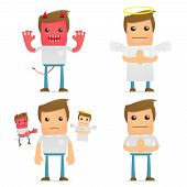 stock photo of angel devil  - set of funny cartoon casual man in various poses for use in presentations - JPG