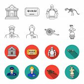 Guard, Guide, Statue, Gun. Museum Set Collection Icons In Outline, Flet Style Vector Symbol Stock Il poster