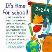 Back To School Poster Design For September Autumn Season. Vector School Bag, Books Or Paint Brush An poster