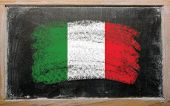 Flag Of Italy On Blackboard Painted With Chalk