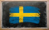 Flag Of Argentina On Blackboard Painted With Chalk