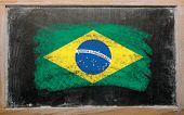 Flag Of Brazil On Blackboard Painted With Chalk