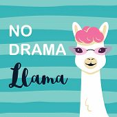 Cute Cartoon Llama Character With No Drama Llama Motivational Quote. Vector Illustration poster