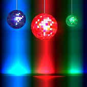 Dance floor with vintage style disco balls and lights with space for your text. EPS10 vector format.