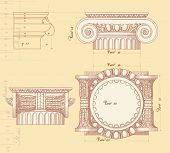 Hand draw sketch ionic architectural order based