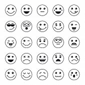 Set Of Line Art Round Emoticons Or Emoji Icons Black. Smile Icons Vector Illustration Isolated On Wh poster