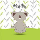 Yoga Time. Cartoon Koala Soar In Lotus Pose On Bamboo Background.koala Bear Doing Lotus Asana In Yog poster
