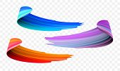 Acrylic Paint Brush Stroke. Vector Bright Orange, Velvet Or Purple And Blue Gradient 3d Paint Brush  poster