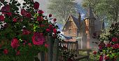 image of climbing roses  - A countryside Victorian mansion with climbing rose covered fence - JPG