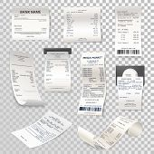 Set Of Isolated Paper Checks On Transparent. Printed Cash Dispenser Payment Bill Or Supermarket, Sho poster