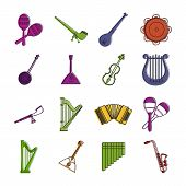 Musical Instrument Icon Set. Color Outline Set Of Musical Instrument Vector Icons For Web Design Iso poster