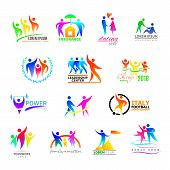 Abstract People Icon Vector Person Sign On Logo Of Teamwork In Business Company Or Fitness Logotype  poster