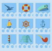 Nautical Animal Elements Wave Ocean Sea Blue Marine Vector Illustration. Water Nautical Element Abst poster
