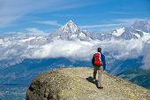 Hiker in the swiss alps