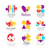 Vector Set Of Multi-colored Logo For Autism Awareness Day With Puzzle Pieces, Hearts And Human Silho poster