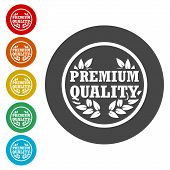 Premium Quality, Premium Quality Label, Simple Icons Set poster