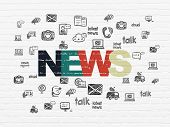 News Concept: Painted Multicolor Text News On White Brick Wall Background With  Hand Drawn News Icon poster