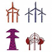 Electric Tower Icon Set. Color Outline Set Of Electric Tower Vector Icons For Web Design Isolated On poster