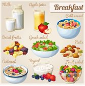 Breakfast 2. Set Of Cartoon Vector Food Icons. Milk, Apple Juice, Cold Cereal, Nuts, Dried Fruits, G poster