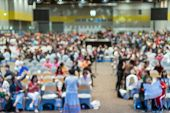 Abstract Blurred Photo Of Conference Hall Or Seminar Room In Exhibition Center With Speakers On The  poster