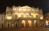 stock photo of milan  - La Scala opera house in night - JPG