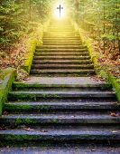 Steps Leading Up To The Sun.  Way To God .  Bright Light From Heaven .  Religious Background  . Sunl poster
