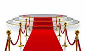 Round stage with red carpet