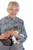 stock photo of elderly woman  - An elderly caucasian white senior woman portrait wearing glasses with grey short hair and happy smiling expression in her friendly face holding a little domestic relaxed cat in her arms looking straight and watching - JPG