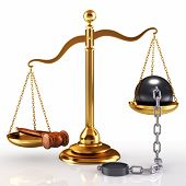 Golden scale, gavel and massive ball which chain (3d render)