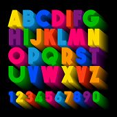 3d Typography. Color Extruded Alphabet. Poster Letters. 3d Colorful Extruded Alphabet Letters On A B poster