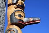 foto of indian totem pole  - Totem Pole at Vancouver Island - JPG