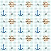 Anchor And Shipwheel Nautical Pattern. A Playful, Modern, And Flexible Pattern For Brand Who Has Cut poster