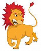 Cartoon personagem Leão isolado no fundo branco. Vector.