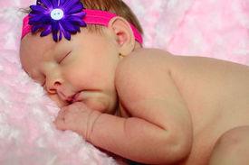 stock photo of sleeping baby  - Newborn baby girl - JPG