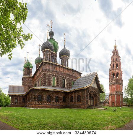 poster of Yaroslavl, The Church Of St. John The Baptist In Tolchkovo. Beautiful Old 17th Century Red Brick Tem