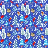 Childish seamless Christmas winter pattern with snowy firs, trees, owl, jingle bell, mitten, sock, c poster