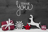 Gift, Deer, Snow, Ball, Thank You, Gray Background poster