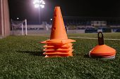 Orange Cones For Training Football On The Field poster