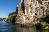 Danube River Near Danube Breakthrough Near Kelheim, Bavaria, Germany In Autumn With Limestone Rock F poster