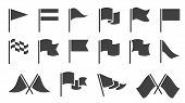 Flag Icons. Black Silhouette Destination Flags, Pennant With Flagpole, Banners. Map Location Markers poster