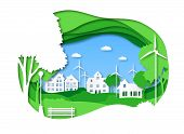 Eco City. Save Energy Green Technology, Solar Town With Alternative Energy. Origami Cityscape With T poster