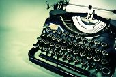 stock photo of old vintage typewriter  - Three quater view of an antique typewriter - JPG
