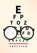 Eye Glasses With Eye Chart. Optician, Vision Of Eyesight Vector Illustration poster