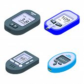 Glucose Meter Icons Set. Isometric Set Of Glucose Meter Vector Icons For Web Design Isolated On Whit poster