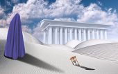 Surreal desert with hourglass. White Temple on horizon. Figure of man in clothes similar to hijab. 3 poster